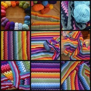 festival granny stripe blanket