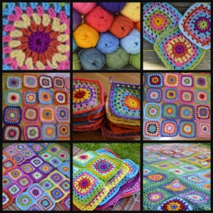 sunshine granny square blanket